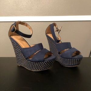 Navy Studded Wedges